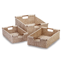34622B  Corn Husk Woven Nesting Baskets Bamboo Handles - $35.75