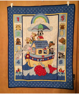 Baby Noah's Ark Quilt or Blanket, Child's Wall Hanging Quilt, Crib Blanket - $42.00