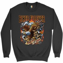 Biker Forever Live to Ride Sweatshirt American Eagle Motorcycle Crewneck - $19.32+