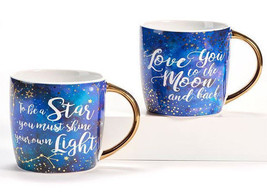 Set of 2 18 oz Ceramic Coffee Mugs - Galaxy Design w Inspirational Sentiment