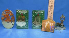 Lot of 5 Gold Tone Metal Ornaments Tree Reindeer Santa & 2 Bells Also Bo... - $8.90