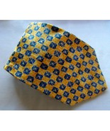 Barrington Men's 100% Silk Abstract Neck Tie Yellow Blue Made In USA NWOT - $17.99