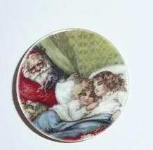 Santa Peeking Sleeping Kids MOP Button on Mother of Pearl Shank Button 1... - $11.99