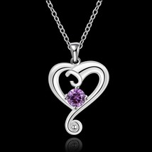 PINK HEART BOTTLE Valentines Gift Necklace Pendant w Authentic SWAROVSKI... - $11.75
