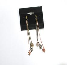 "Vintage Tricolor Dangle Earrings, 3"" Drop, Silver, Gold, Copper Metal, Long, Pie - $18.00"
