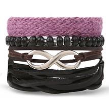 IFMIA Bohemian Turkish Eyes Beaded Leather Bracelets Set for Men Women V... - $11.65