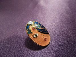 Vintage Enamel Gypsy Fortune Teller Face W/ Scarf Over Eye Oval Stud Earrings image 3