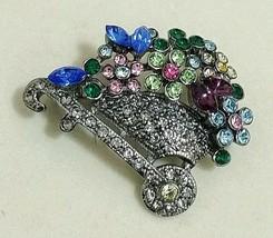 Vintage RUCINNI Brooch Pin Swarovski Crystal Wheelbarrow Flowers Gardene... - $28.53
