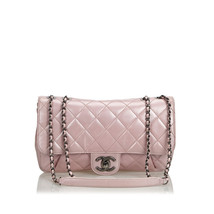 Vintage Chanel Pink Calf Leather Quilted skin Pleated Chain Flap Bag Italy - $1,646.94