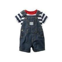 Carters Baby Boys 4th Of July Top & Denim Shortalls 2 Piece Stripe Size 3M MyAFC - $24.99