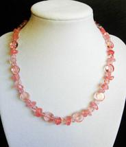 """16 1/2"""" genuine cherry quartz and artglass necklace - $85.00"""