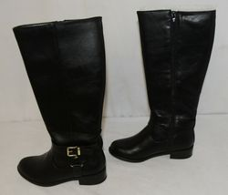 Soda HIROS Black Zip Up Riding Boot Gold Colored Accents Size 5 And Half image 5