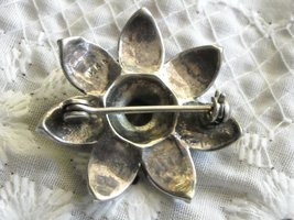 "Vintage Brooch Pin Sterling Silver Marcasite & Black Onyx 1.25"" Star Flower image 2"