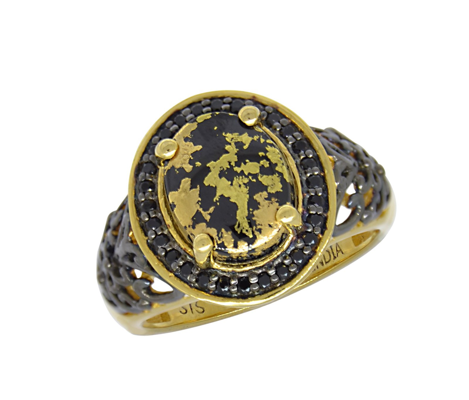 925 Sterling Silver Gold Tone Gold Leaf Onyx / Spinel Fashion Womens Ring
