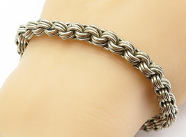 925 Sterling Silver - Vintage Smooth Round Triple Link Chain Bracelet - ... - $110.50