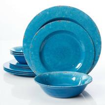 Gibson Studio Mauna Crackle-Look Cobalt Melamine 12 pc DW Set, Dishwasher Safe - $37.99