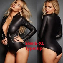 Frence Sexy Black PU Leather Bodysuit Women Jumpsuit Long Sleeve Zip Det... - $33.66