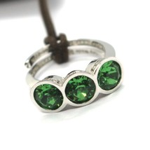 REBECCA BRONZE TRILOGY RING, GREEN ROUND CRYSTAL, BWSABS01, MADE IN ITALY  image 1