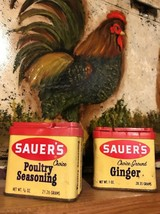 (2) Vintage Sauer's Choice Spice Tins - Ground Ginger + Poultry Seasonin... - $18.59