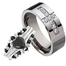 His & Hers 2.6CT Silver 925 Black Heart CZ Titanium Cross CZ 4 pcs Ring Set - $47.98