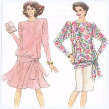 Simplicity 9047 Misses 2 Piece Dress Pull On Gored Tulip Skirt Blouse Sz... - $3.00