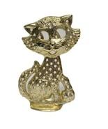 TORINO VTG Kitten Cat Gold Tone Metal Jewelry Tree Pierced Earring Stand... - $13.63
