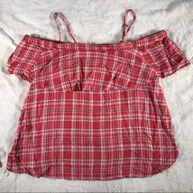 Jak & Rae  Women's Cold Shoulder Plaid  Red / Ivory Top Size Small  - $9.89