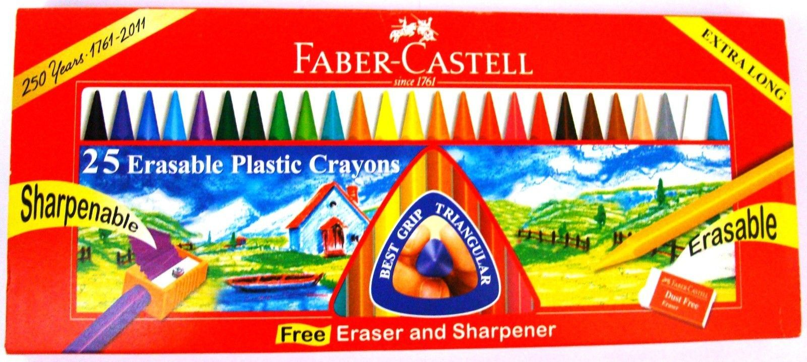 Faber-Castell  25 Erasable Plastic Crayons  Assorted Shades  110 mm each