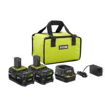 RYOBI 18-Volt ONE+ Lithium-Ion High Capacity 4.0 Ah Battery (2-Pack) Sta... - $96.74