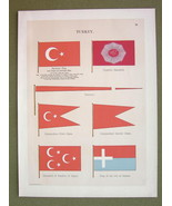 FLAGS Turkey Samos Egypt Khadive Imperial Standard - 1899 Color Litho Print - $16.20