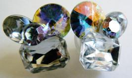 Beautiful Aurora Borealis Shimmering stones Cluster Earrings silver tone metal - $25.34