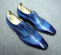 Handmade Men's Blue Wing Tip Toe Brogues Dress/Formal Oxford Leather Shoesf image 2