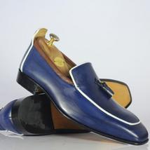 Handmade Men Blue Leather Tassels Loafers Shoes image 2