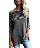 Grey Ruched Off Shoulder Long Sleeve Top  - $26.79