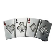 New Hip Hop Clear Rhinestones 4 Ace Poker Card Bling Belt Buckle  - $8.39
