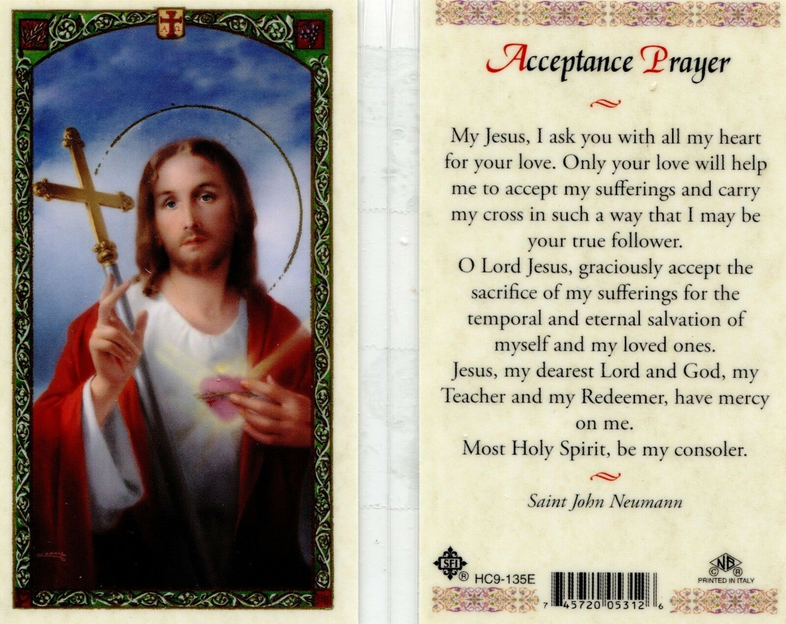 Primary image for Acceptance Prayer I Ask Jesus For His Love - Item EB576 - Catholic Laminated