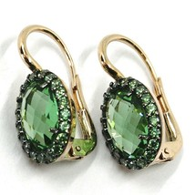 18K ROSE GOLD LEVERBACK FLOWER EARRINGS, OVAL GREEN CUBIC ZIRCONIA WITH FRAME image 2