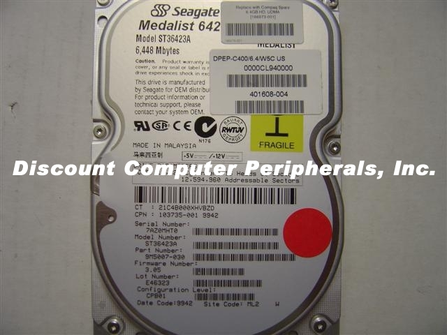 SEAGATE ST36423A 6.4GB 3.5in IDE 40PIN Desktop Hard Drive
