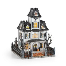 Lenox Halloween Lighted Haunted Mansion House Witch Cries Black Cat Decor NEW - $188.80