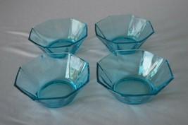 4 Hazel Atlas Capri Octagonal Azure Blue Bowls Set 1 - £30.56 GBP