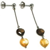 White Gold Earrings 750 18K Charm Pendants with Hearts of Quartz Brown & Citrine image 1