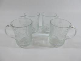 Set of 4 Glcoloc Canterbury Crocus Flower Clear Glass Cups Mugs France - $39.55