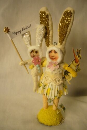 Vintage Inspired Spun Cotton, Bunny Mom with Child 167W