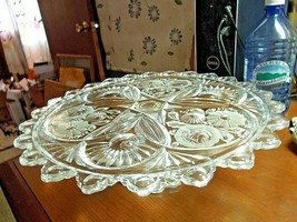 "Glass Pedestal Cake Stand 13"" w. Clear Glass 4 1/4"" t. Flowers Tear Drop... - $34.60"