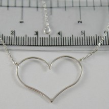 18K WHITE GOLD NECKLACE WITH 1.06 IN HEART AND MINI SQUARED CHAIN MADE IN ITALY image 2