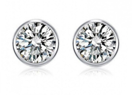 Buy 925 Sterling Silver Round Stud Earring For Woman Man White Sona Simu... - $12.99
