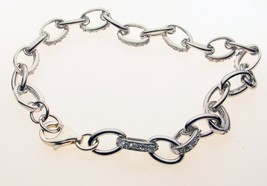 Sterling Silver Bracelet with Crystal Set Stones 7 Inch - $19.74