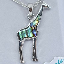 Storrs Wild Pearle Abalone Shell Giraffe Pendant w/ Silver Tone Necklace image 2