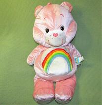 "29"" CARE BEARS CHEER PINK SHINY STUFFED ANIMAL RAINBOW TUMMY PLUSH PILLO... - $38.61"