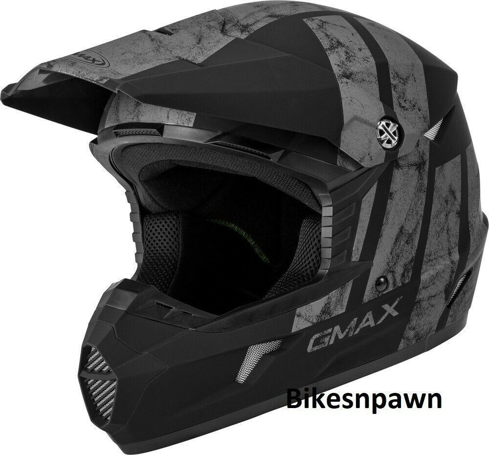 New Youth M Gmax GM46 Dominant Matte Black/Gray Offroad Helmet DOT